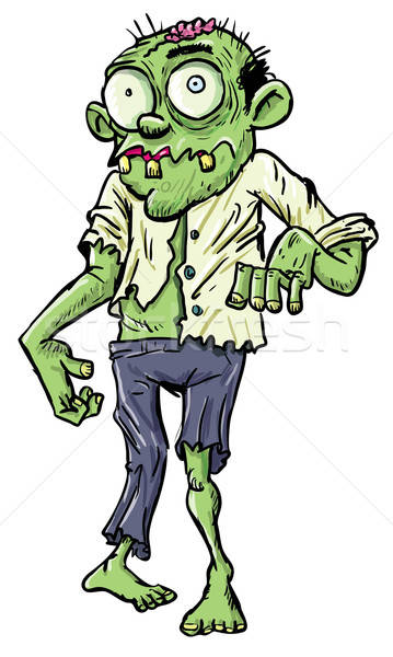 Green cartoon businessman zombie. Stock photo © antonbrand