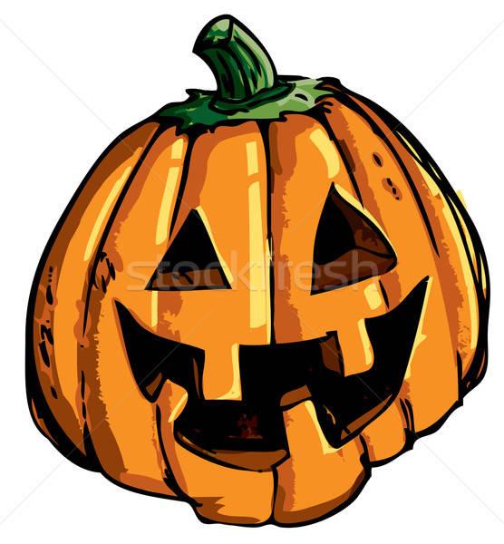 Cartoon of smiling halloween carved pumpkin Stock photo © antonbrand