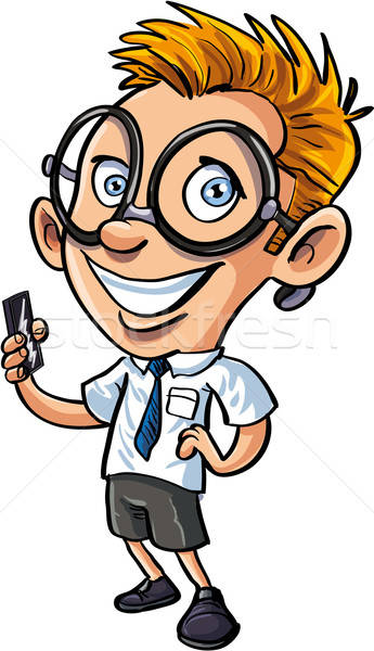Cute cartoon nerd with mobile phone Stock photo © antonbrand