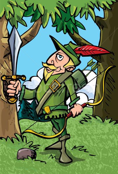 Cartoon Robin Hood in the woods Stock photo © antonbrand