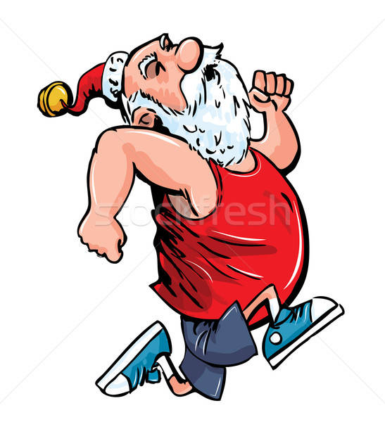 Cartoon Santa running for exercise. Stock photo © antonbrand