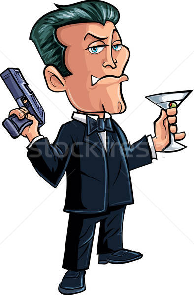 Cartoon spy character with martini Stock photo © antonbrand