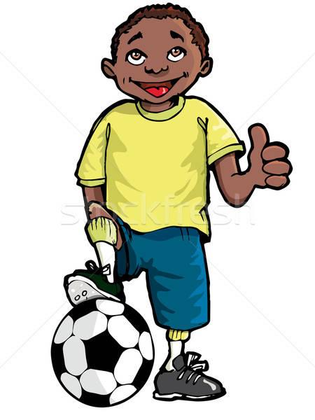 Karikatur schwarz Junge Fußball isoliert Kinder Stock foto © antonbrand