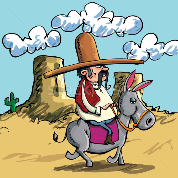 Cartoon Mexican wearing a sombrero riding a donkey Stock photo © antonbrand