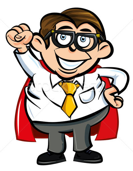 Cartoon Superhero office nerd Stock photo © antonbrand