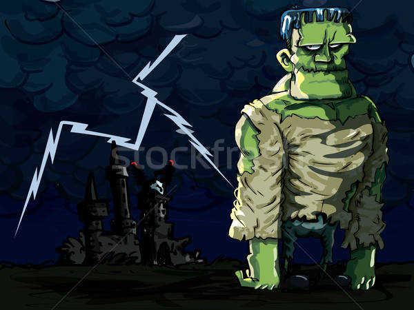 Cartoon Frankenstein monster in a night scene Stock photo © antonbrand