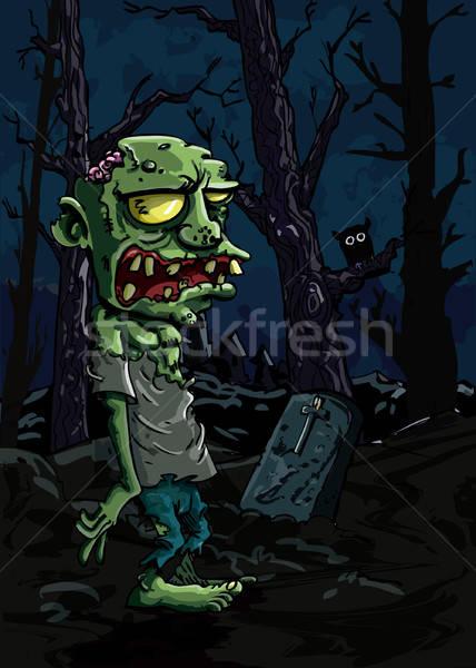 Cartoon zombie kerkhof grafsteen bomen gezicht Stockfoto © antonbrand