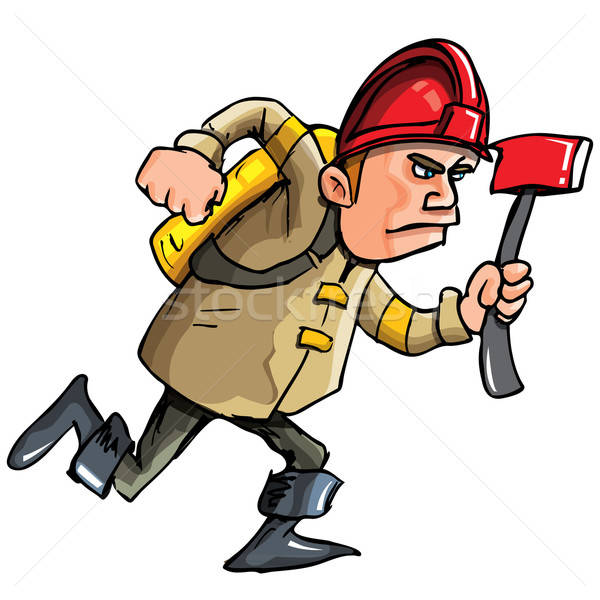 Cartoon fireman running with an axe Stock photo © antonbrand