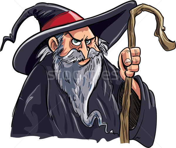 Cartoon wizard with a staff Stock photo © antonbrand
