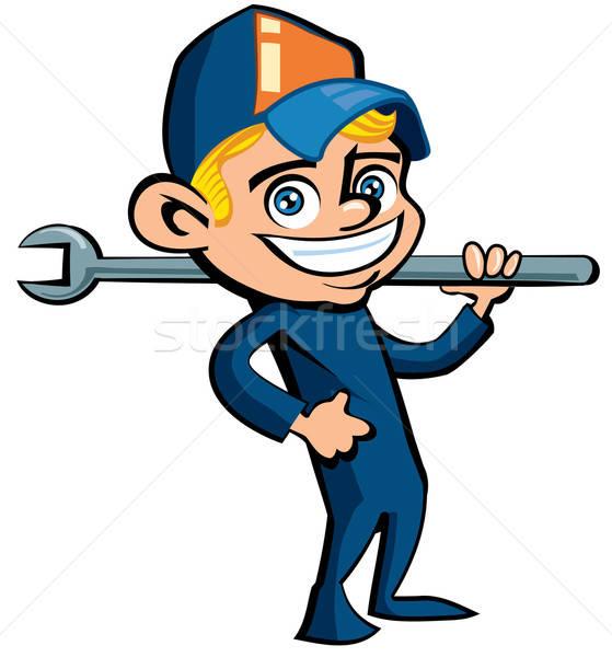 Cute Karikatur Klempner halten Tool isoliert Stock foto © antonbrand