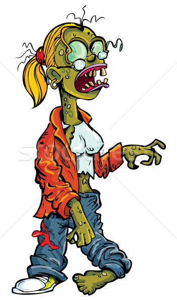 Cartoon Zombie Woman With Glasses Vector Illustration