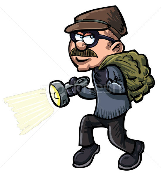 Cartoon thief with a flash light Stock photo © antonbrand