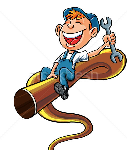 Cartoon plumber riding on a bucking pipe Stock photo © antonbrand