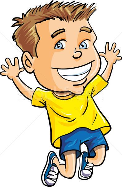 Cartoon boy jumping for joy Stock photo © antonbrand