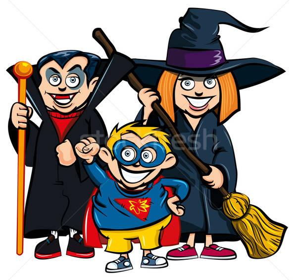 Cartoon of group of kids in Haloween costumes Stock photo © antonbrand