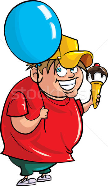 Cartoon overweight boy with balloon and ice cream Stock photo © antonbrand