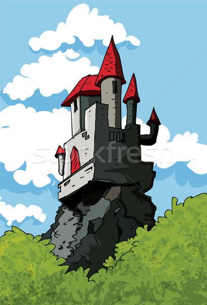 Burg Wald blauer Himmel Wolken hinter Gebäude Stock foto © antonbrand