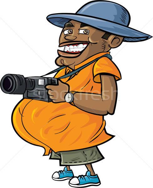 Karikatur touristischen Kamera isoliert weiß Lächeln Stock foto © antonbrand