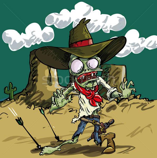 Cartoon zombie cowboy with green skin Stock photo © antonbrand