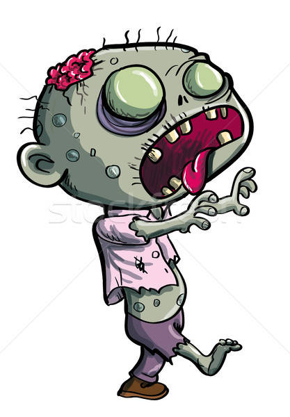 Cute green zombie cartoon Stock photo © antonbrand