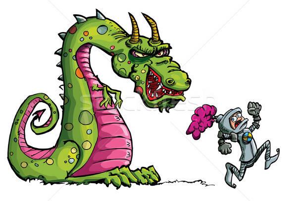 Cartoon of a knight running from a fierce dragon Stock photo © antonbrand