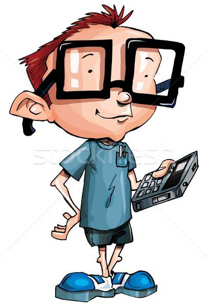 Cartoon nerd with glasses and a smartphone Stock photo © antonbrand