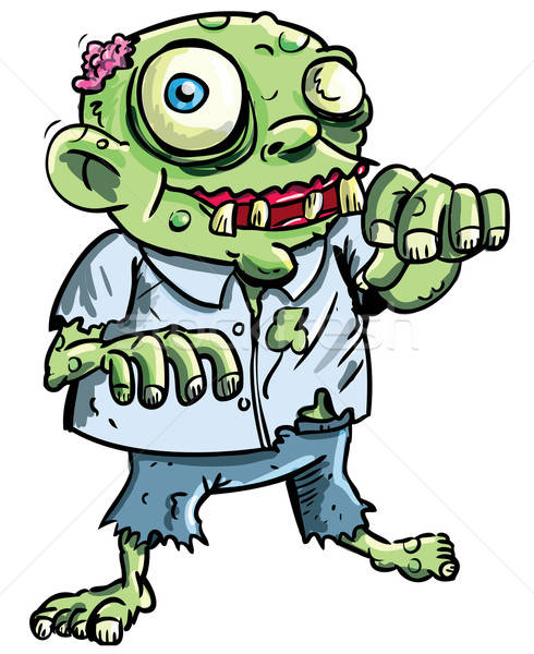 Cute green cartoon zombie Stock photo © antonbrand