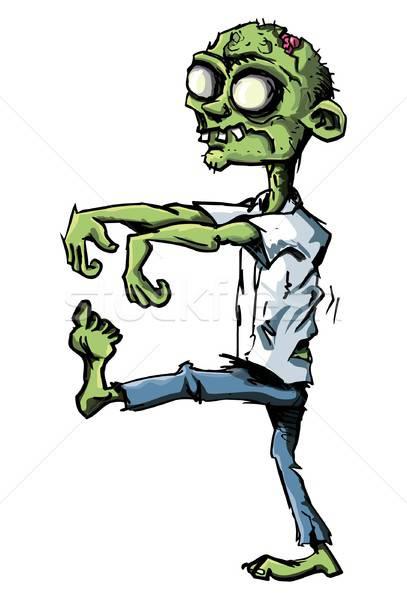 Cartoon zombie odizolowany biały broni na zewnątrz Zdjęcia stock © antonbrand