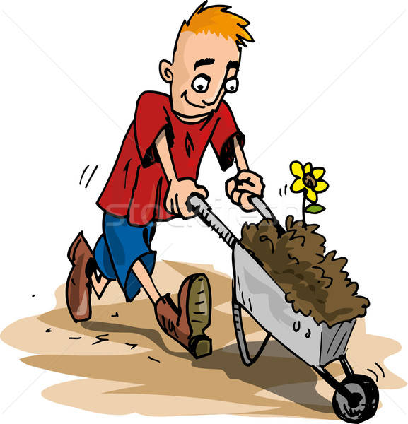 Cartoon of man pushing a wheelbarrow Stock photo © antonbrand
