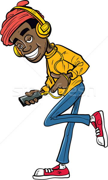 Cartoon teen słuchanie muzyki telefonu komórkowego uśmiech Zdjęcia stock © antonbrand