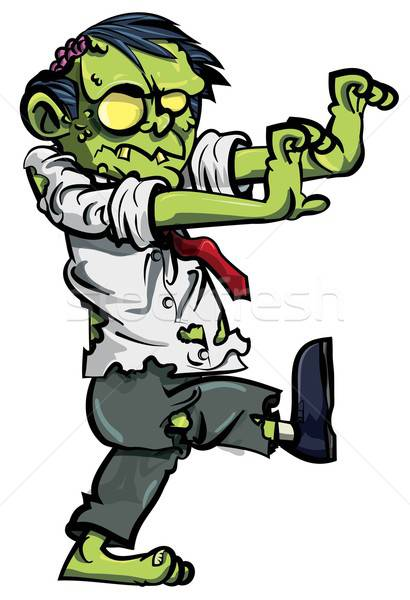 Cartoon zombie businessman stalking Stock photo © antonbrand