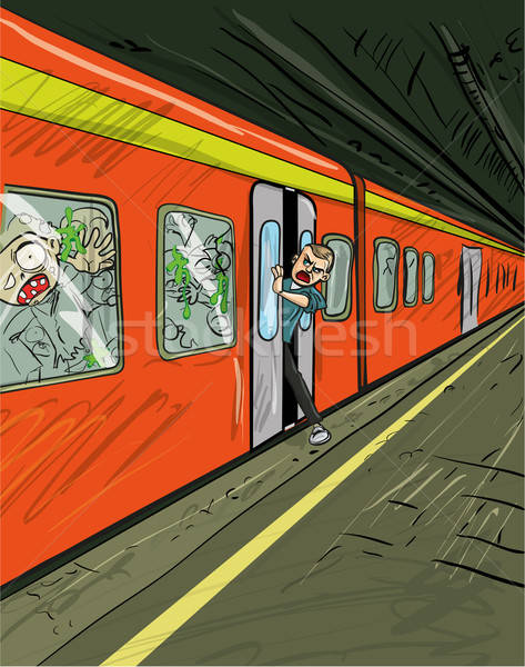 Cartoon of train filled with zombies Stock photo © antonbrand