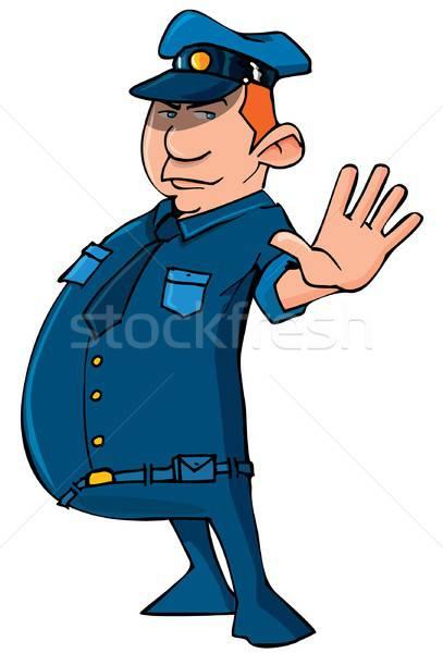 Cartoon policeman holding up his hand Stock photo © antonbrand