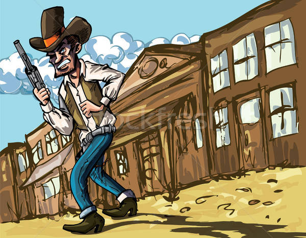 Cartoon cowboy with sixguns Stock photo © antonbrand