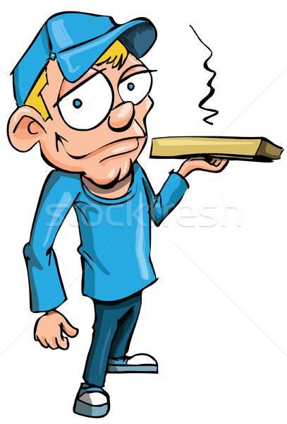 Karikatur Pizza Lieferung Junge isoliert weiß Stock foto © antonbrand