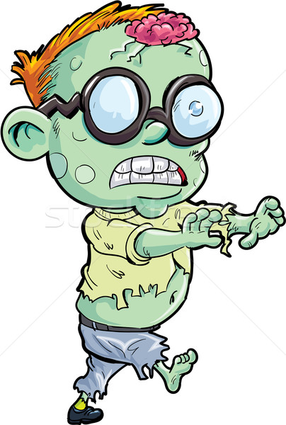 Cute Cartoon zombi aislado blanco nino Foto stock © antonbrand