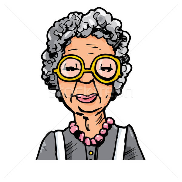 Cartoon of an old lady with glasses Stock photo © antonbrand