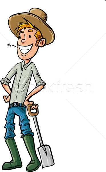 Cartoon Farmer with hat and spade Stock photo © antonbrand