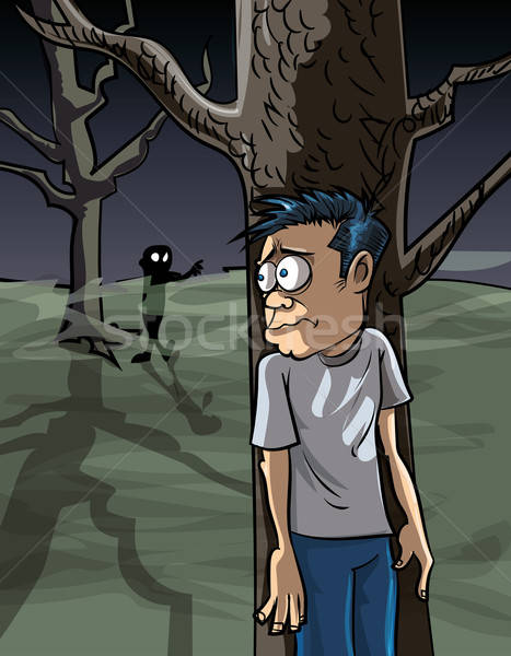 Cartoon of scared man in the woods hiding Stock photo © antonbrand