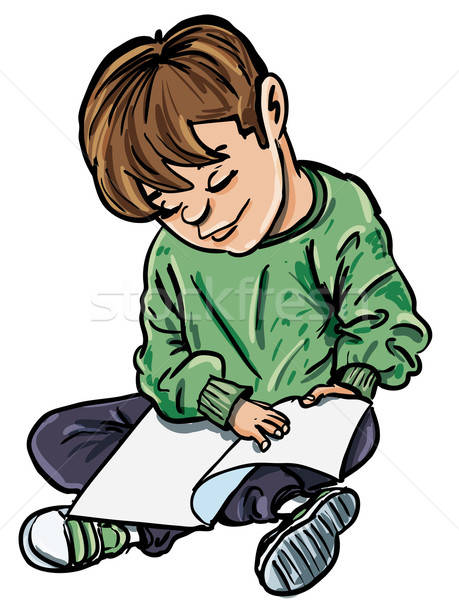 Cartoon of boy reading a book Stock photo © antonbrand