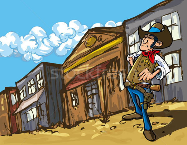 Cartoon cowboy in a western old west town Stock photo © antonbrand