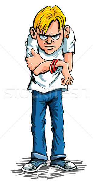 Cartoon sulky teenager wearing jeans and t shirt Stock photo © antonbrand
