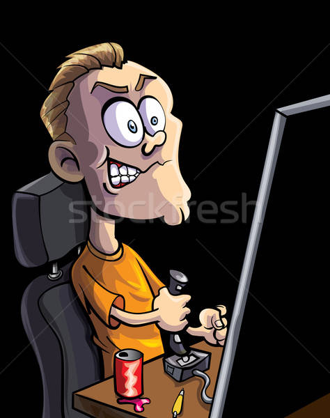 Cartoon teen spelen computerspel bedieningshendel computers Stockfoto © antonbrand