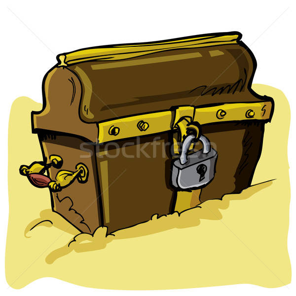 Cartoon illustration of a pirate chest Stock photo © antonbrand
