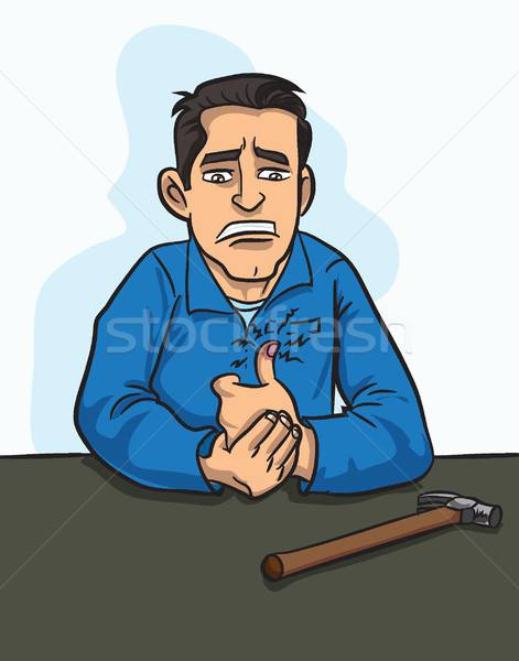 Cartoon workman has banged his thumb with a hammer Stock photo © antonbrand