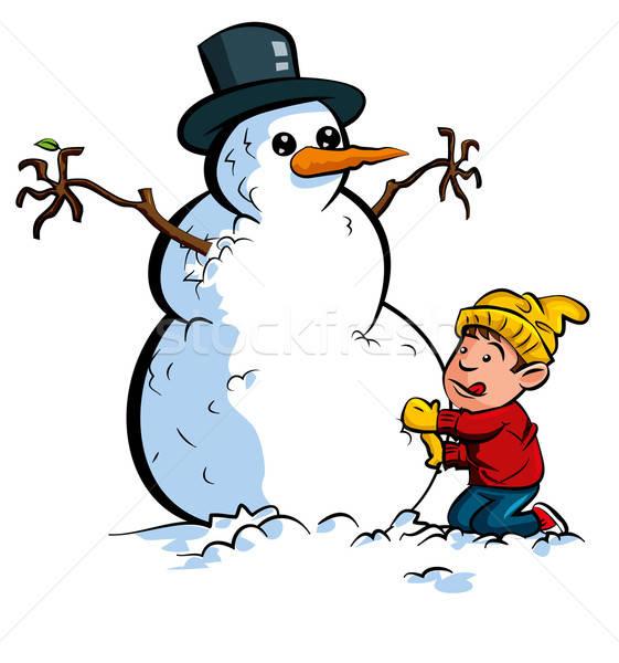 Karikatür erkek Bina kardan adam şapka kar Stok fotoğraf © antonbrand