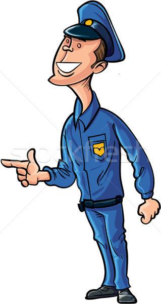 Karikatür güvenlik görevlisi yalıtılmış beyaz adam güvenlik Stok fotoğraf © antonbrand