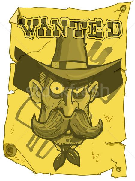Cartoon cowboy gezocht poster oude west Stockfoto © antonbrand