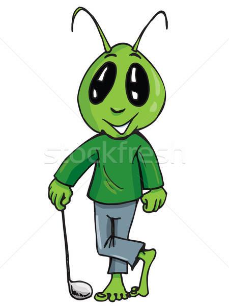 Karikatur fremden Golf Stick isoliert weiß Stock foto © antonbrand