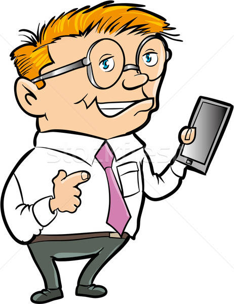Karikatur nerd Hand Computer isoliert Internet Stock foto © antonbrand
